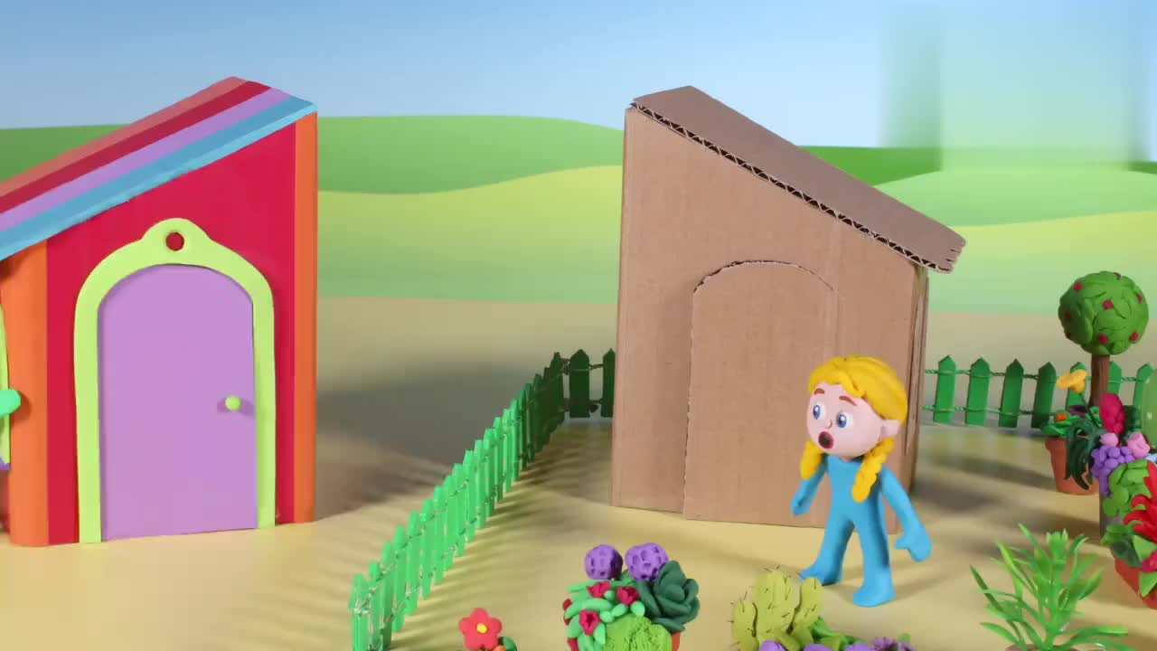 儿童定格故事小男孩想和小妹妹合并房子种植漂亮花朵
