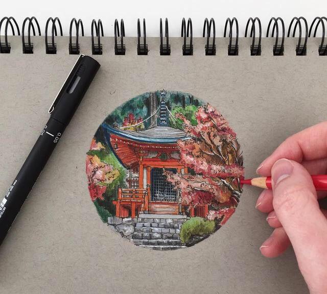 彩铅风景小插画,小画幅中的田园生活情怀
