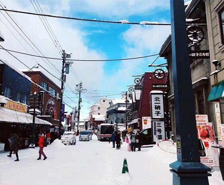 下雪了,洁白的路面和房子、车与行人