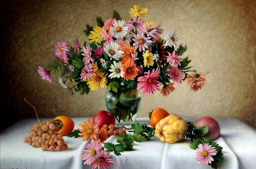 插画:阿塞拜疆艺术家Rovshan Mamedov的精美静物花卉作品