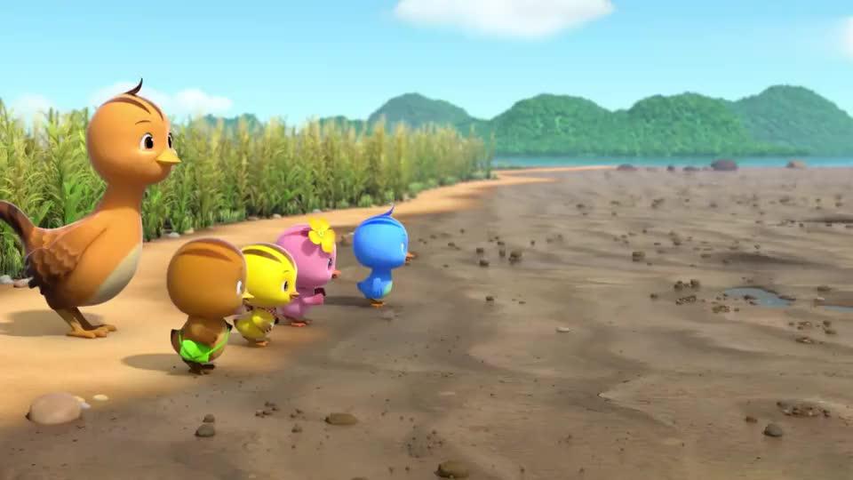 萌鸡小队妈妈带孩子们来泥潭麦齐看到小鱼在地上跑步好奇