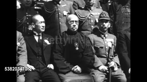 民國28年3月,南京,漢奸王克敏梁鴻志等組偽維新政府