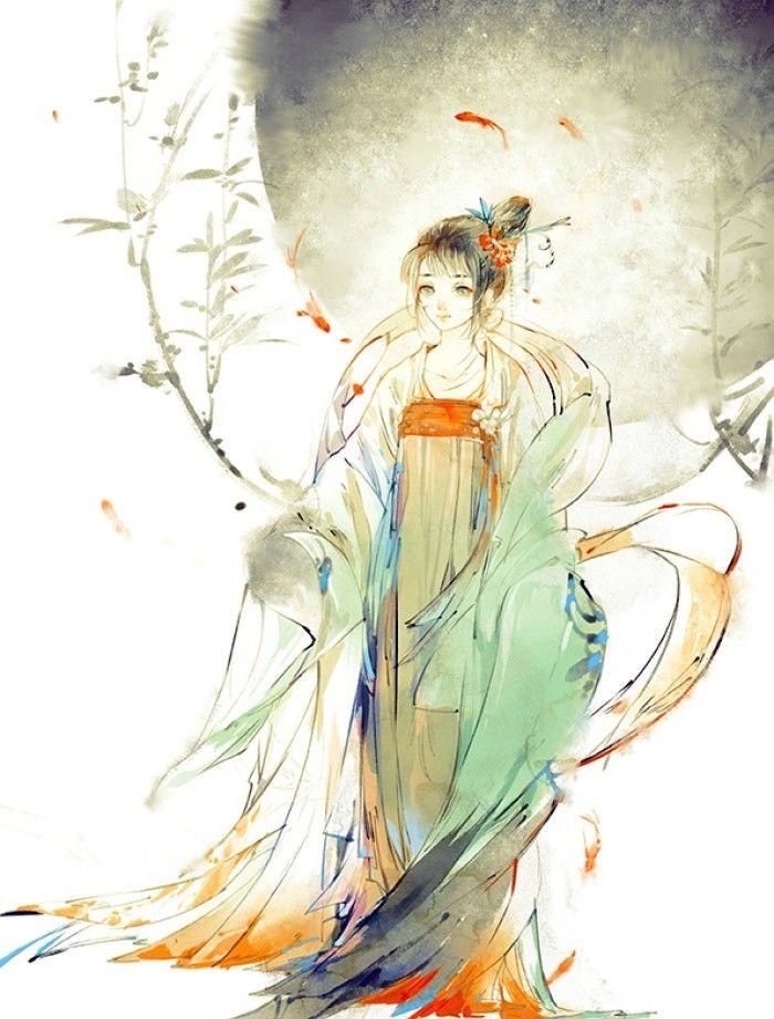 唯美古风手绘插画壁纸,那年青梅竹马,谁曾许我嫁衣红霞