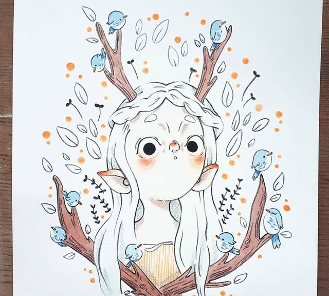 彩铅人物插画,超可爱的卡通女孩,画风好独特