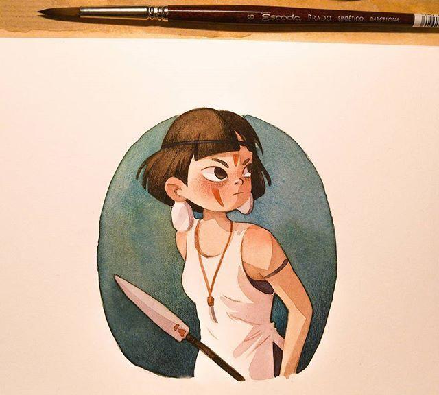 水彩手绘女孩插画,很喜欢这种画风