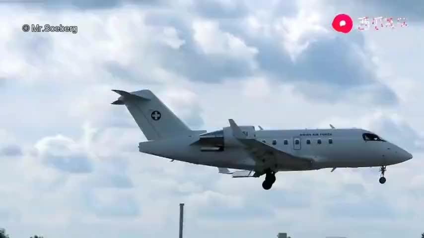 瑞士空军庞巴迪挑战者飞机起飞降落全过程