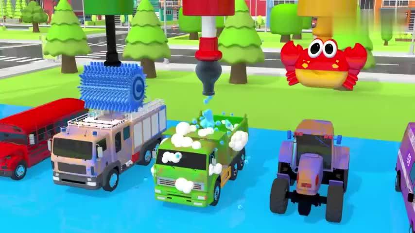 小车卡车消防车都到清洗车间排队清理,益智动画学颜色