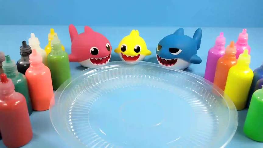 亲子创意水上颜料绘画鲨鱼一家的美丽海底世界