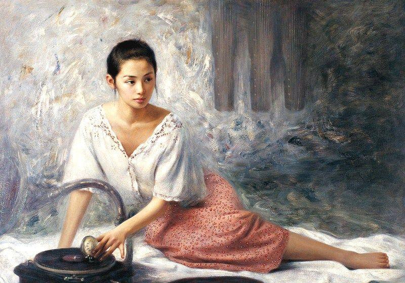 他画笔下的邻家小妹,清纯美丽,王剑10幅人物绘画作品欣赏