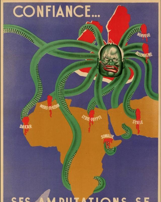 英国是个抽雪茄的大章鱼,腿越来越少,二战维希政府漫画地图