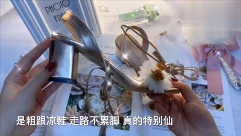 小姐姐拆箱:一双仙女花朵高跟鞋,独特的花朵设计,超级漂亮