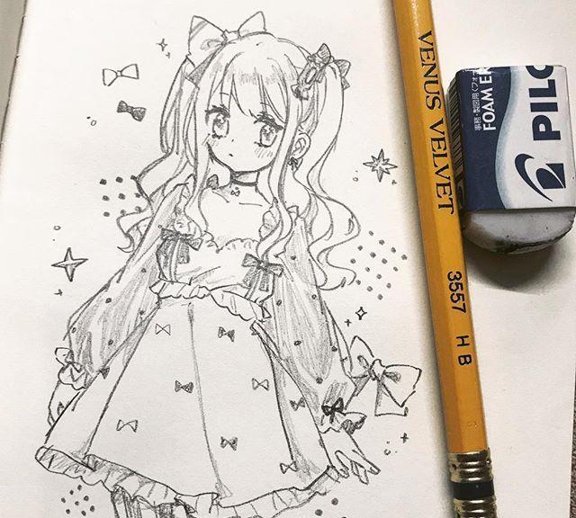 铅笔人物手绘,很可爱的一组美少女线稿