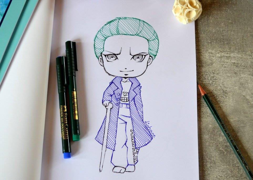 手绘作品欣赏:线描卡通人物