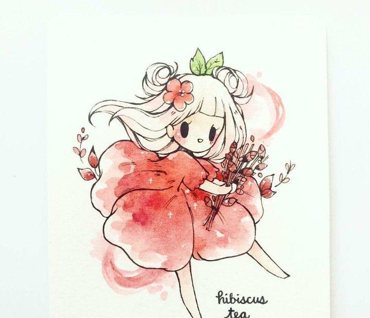 水彩手绘,超有创意的单色系植物精灵女孩