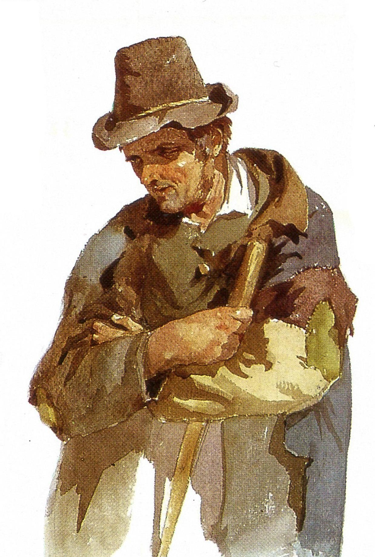 水彩画:爱尔兰农民,弗雷德里克古道尔绘
