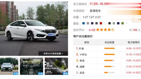 全新思域导购推荐 这两款车型性价比最高