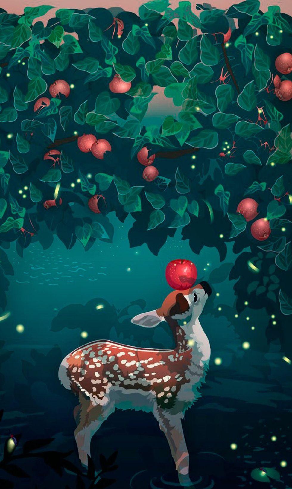 简约唯美手绘插画高清手机壁纸,最美的创意就是天马行
