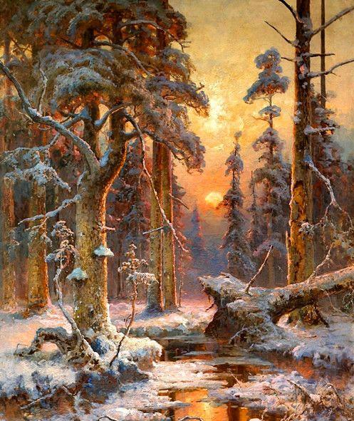 尤里乌斯·冯·克列维尔风景油画作品