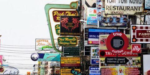 考山路——泰国首都曼谷的一条街道,是背包客的聚集地
