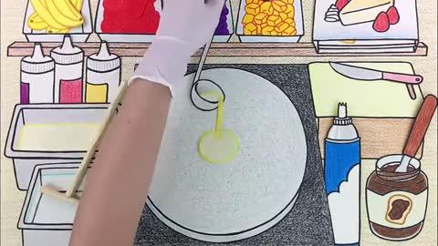 手绘定格动画,美味的煎饼冰淇淋制作过程,有趣极了!