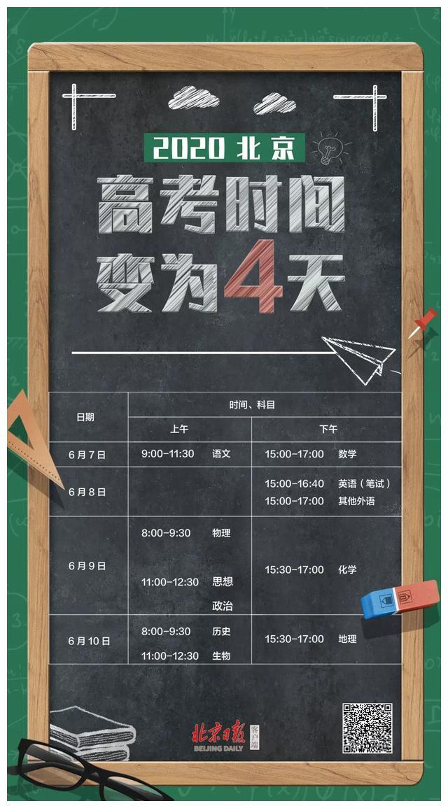 2020北京高考时间,变为4天