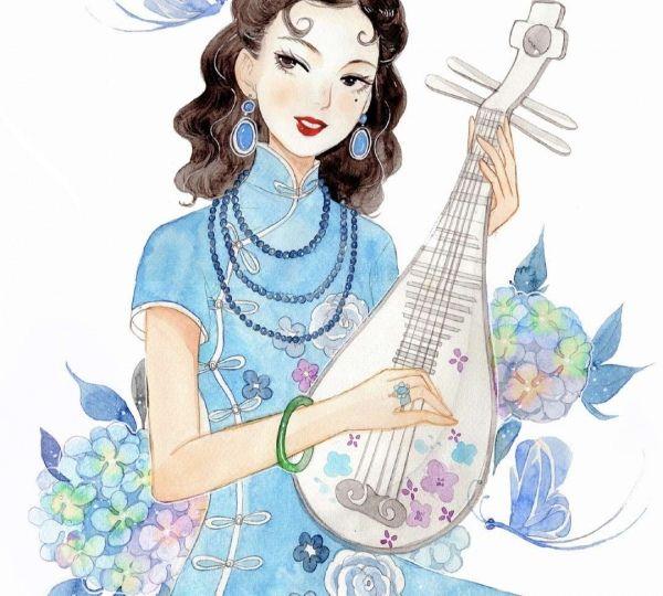 从来民国范儿,大美数旗袍。手绘动漫旗袍女子
