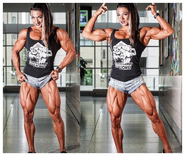 女子为夺冠练出拉丝肌肉