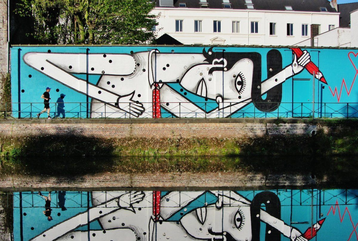 比利时街头艺术家Joachim创作的充满活力的壁画作品
