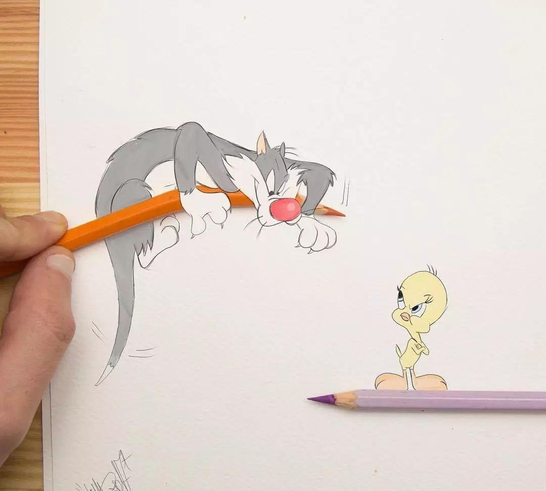 可爱的卡通创意手绘作品,看意大利画师如何将迪斯尼搬到了画纸上