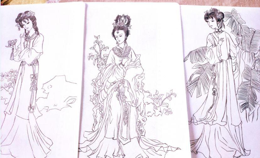 我手绘的白描美女 猜猜是古典文化里的谁
