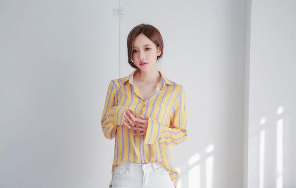 孙允珠:芒果翡翠果浆炫彩竖条纹衬衫写真