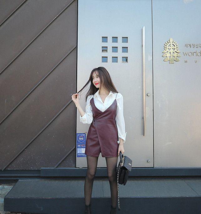 皮质短裙u白衬衣,搭配丝袜短靴,图2可爱妹纸,图6小蛮腰顶不住