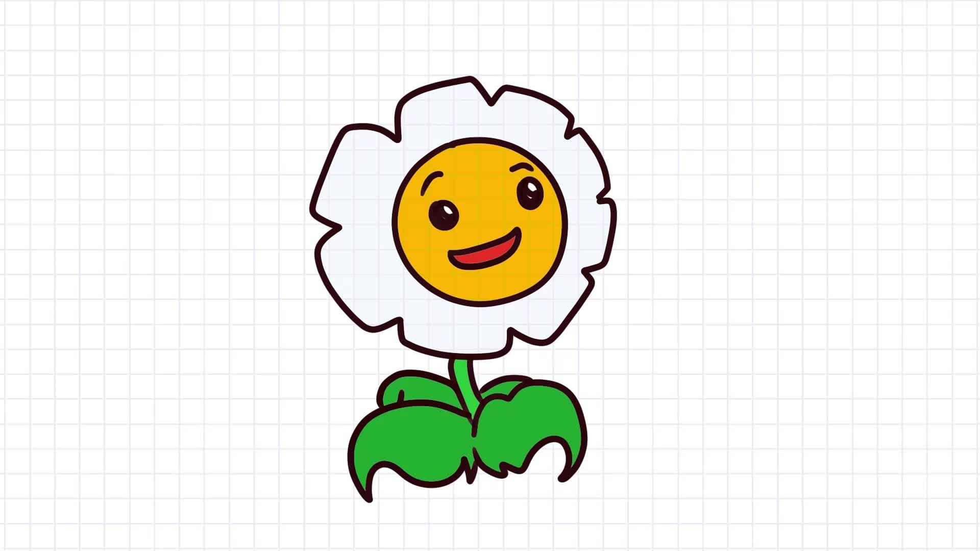 植物大战僵尸简笔画,画植物大战僵尸中的的金盏花