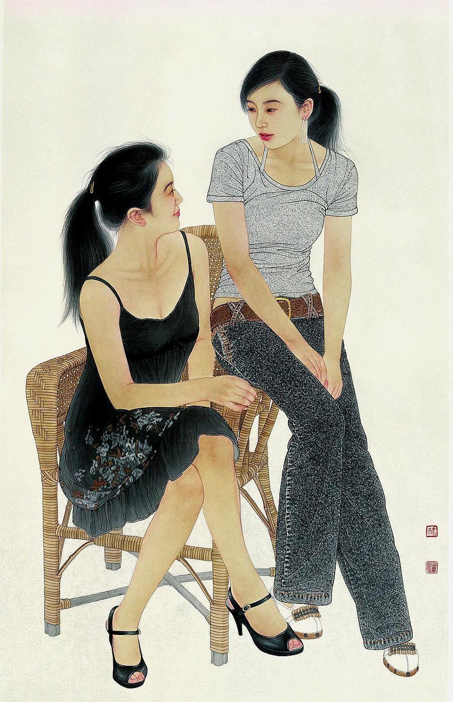 个性鲜明,引人注目,宋彦军11幅工笔女性人物画欣赏