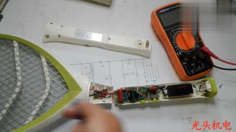 电蚊拍包含三个基本电路,实物拆开维修讲解,家电维修就这样
