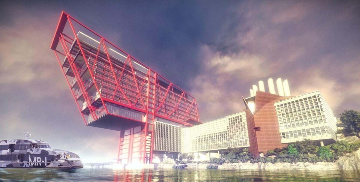 """""""购物车""""型悬挑式酒店3D设计效果图欣赏"""