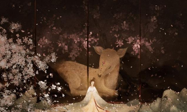 一个梦境,梦中风声鹤唳、麋鹿萦绕、飞龙在天|禅意和玄幻插画