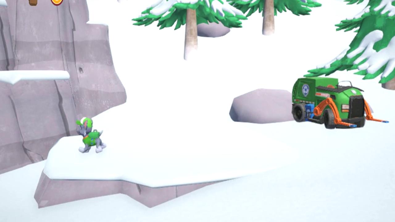 游戏汪汪队出发救援 森林下起大雪,小灰驾驶叉车困在雪地里