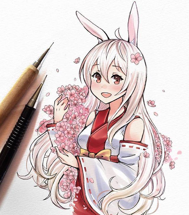 马克笔手绘女孩插画,可爱的小姐姐,有没有被萌到