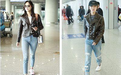 周冬雨 VS 辛芷蕾撞衫:Chloe双排扣皮夹克