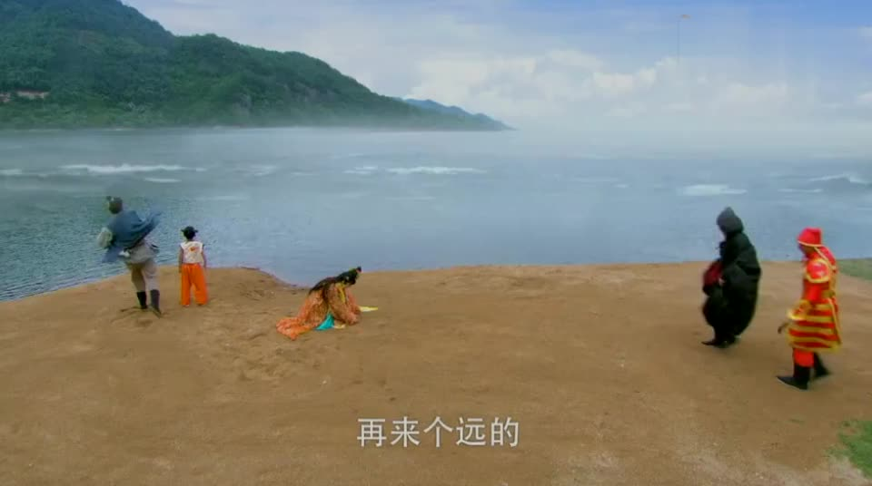 小孩在海边洗了块红布,竟惹得龙宫夜叉出来打他,污染了环境