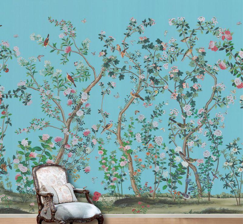 洛可可风格的手绘墙纸特色艺术壁画