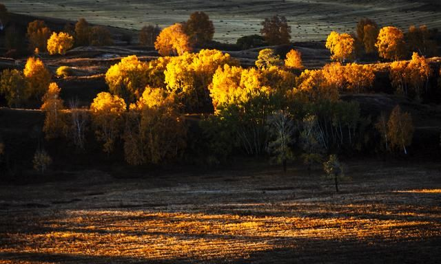 坝上草原的透风沟,河流蜿蜒流过,山谷在旭日映照下,五彩缤纷