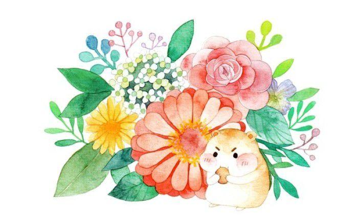 一组很有爱的小水彩画,可爱的小动物和鲜艳的花朵,春天的味道