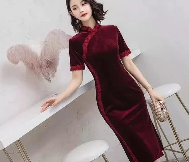 四季可穿丝绒旗袍,立体裁剪,最是修身