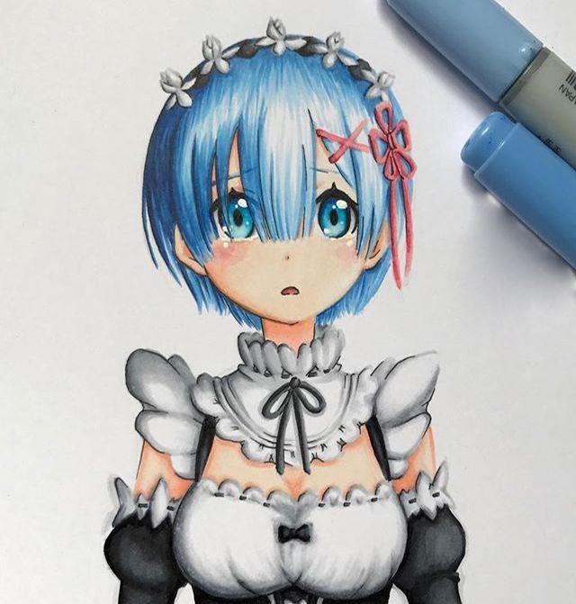 马克笔动漫人物手绘,简单的上色也可以很好看