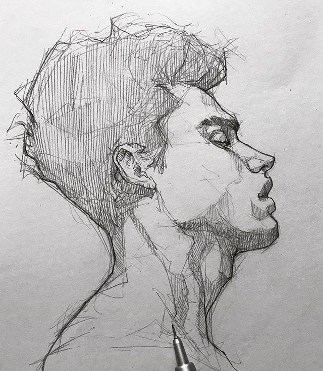 铅笔手绘,人物素描头像,细节处画得好精致