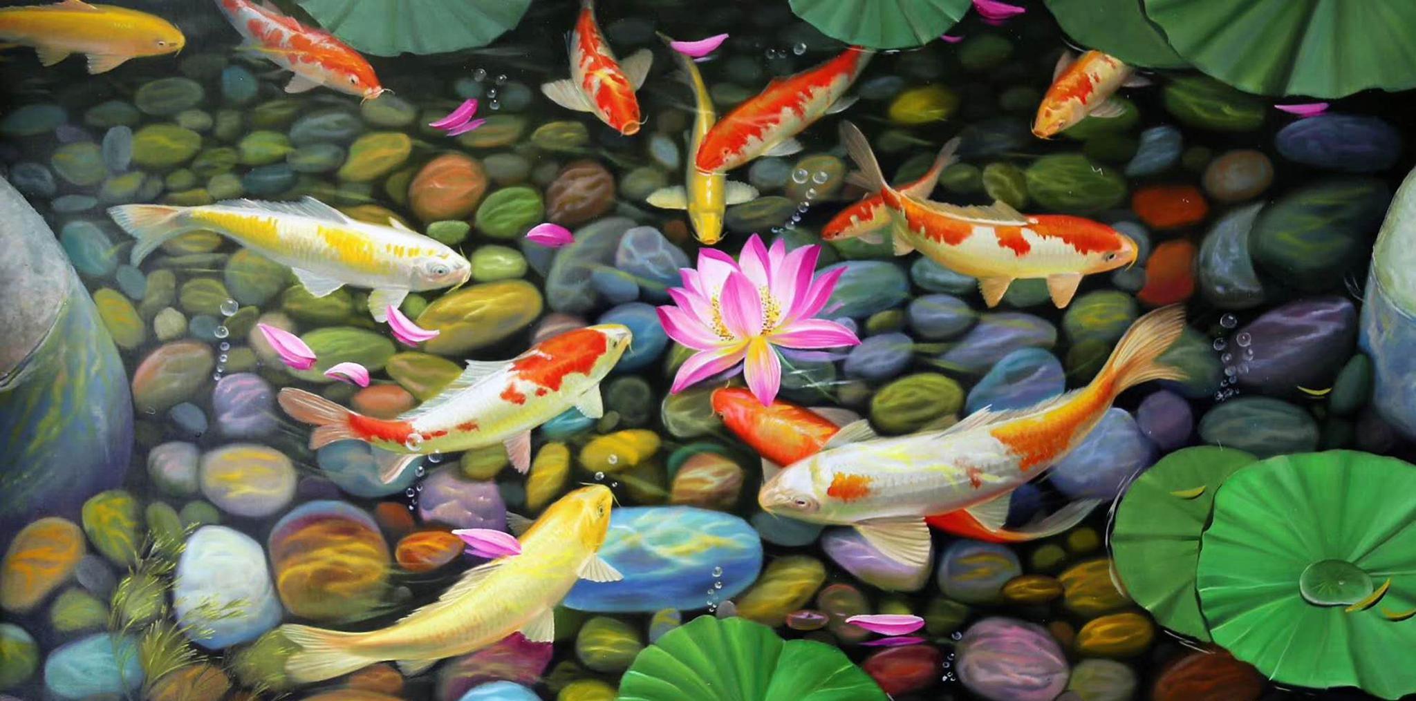 油画花鸟:一组锦鲤荷花图,请欣赏