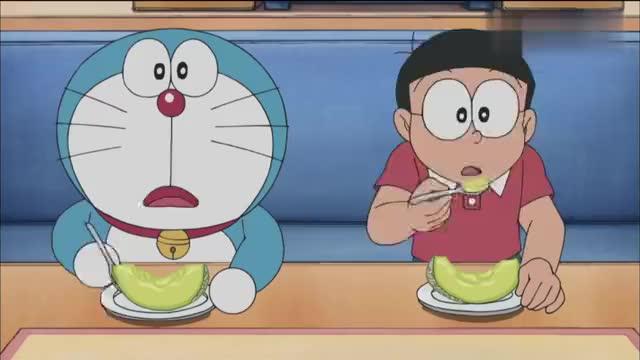小夫请客吃哈密瓜,原来是要大雄和哆啦A梦当保镖,被拒绝后翻脸