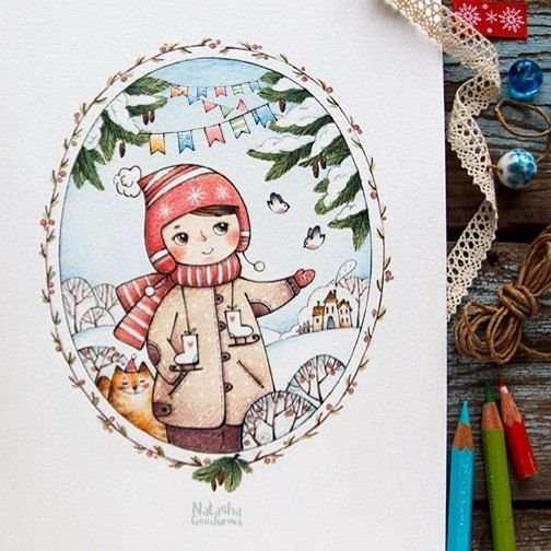 illustasha的手绘简笔画小姑娘
